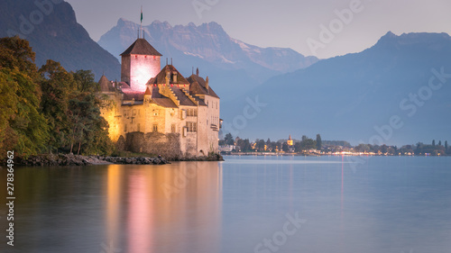 Fototapeta Chillon castle in Montreux during sunset in Switzerland