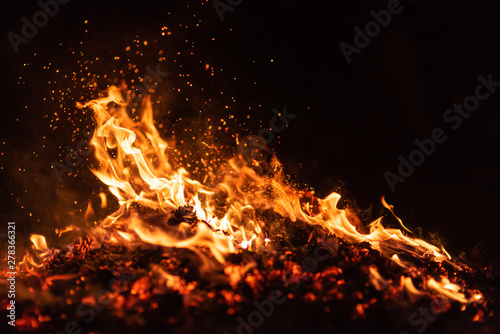 Obraz fire flames with sparks on black background - fototapety do salonu