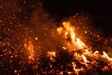 Burning Red Hot Sparks Fly Fro...