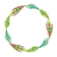Round Frame Of Peacock Feathers, Watercolor Painting On White Background.
