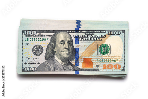 Stampa su Tela Isolated Heap of 100 US dollars bills background