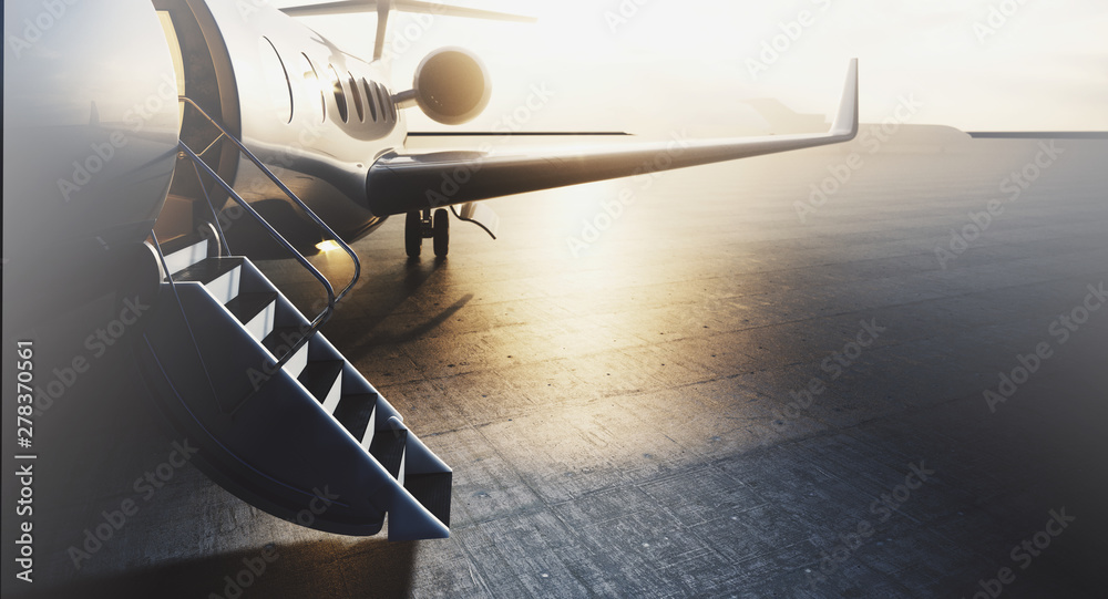 Fototapety, obrazy: Business private jet airplane parked at terminal. Luxury tourism and business travel transportation concept. Closeup. 3d rendering
