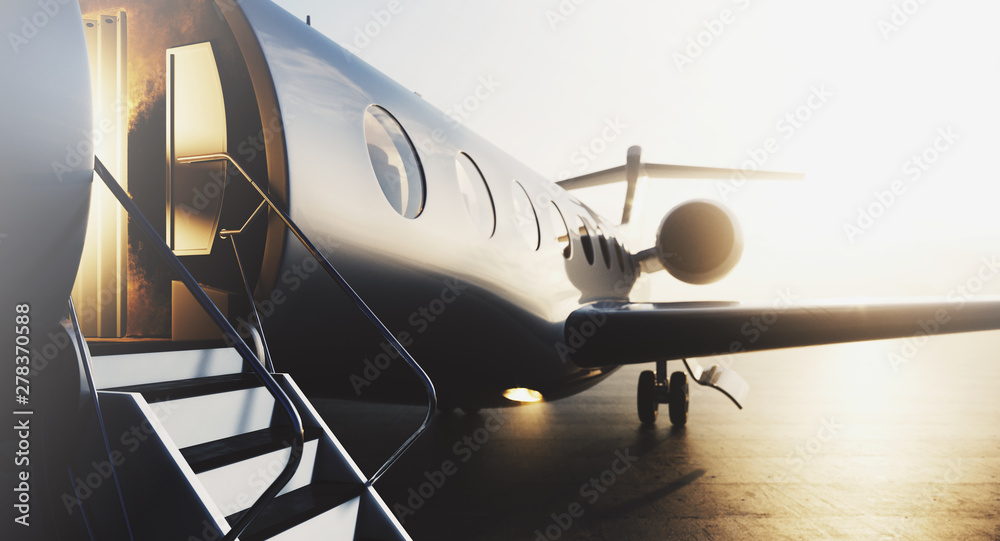Fototapeta Business private jet airplane parked at terminal. Luxury tourism and business travel transportation concept. Closeup. 3d rendering