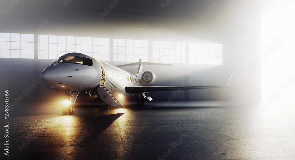 Fototapety, obrazy: Business private jet airplane parked at terminal. Luxury tourism and business travel transportation concept. 3d rendering