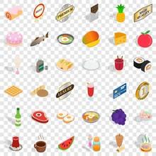 Sushi Icons Set. Isometric Sty...