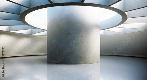 Fototapety, obrazy: Contemporary and futuristic empty interior with natural light on concret wall and reflections on the floor. Concept of interior design and architecture. 3d rendering.