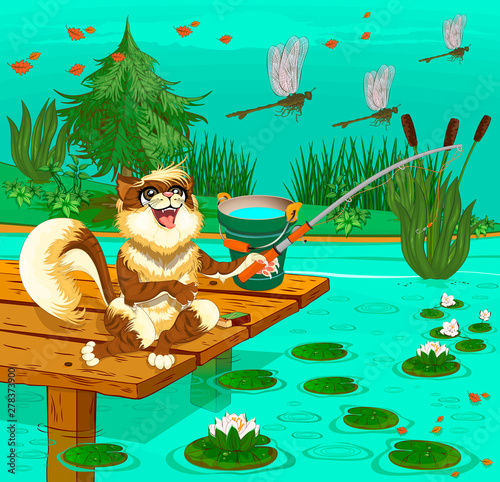 La pose en embrasure Pirates Brown fluffy cat sitting on a wooden pier with a fishing rod and bucket