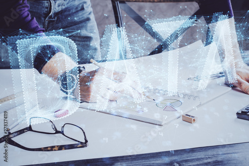 Recess Fitting Graphic Prints Writing man with technology icons. . Double exposure. Network and data concept.