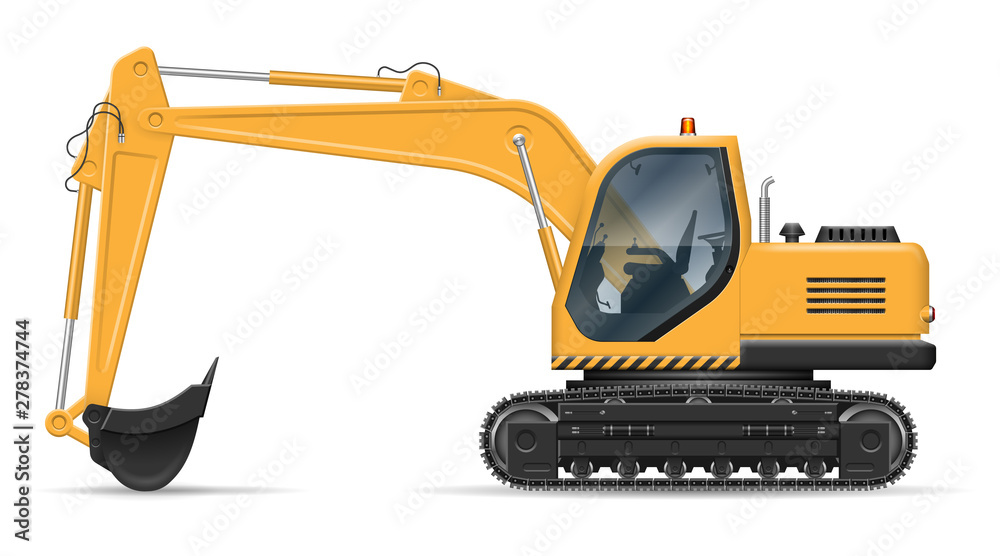 Fototapeta Yellow excavator with view from side isolated on white background. Construction vehicle vector mockup, easy editing and recolor