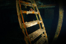 Stairs In A Sunk Shipwreck Underwater In Cozumel Mexico