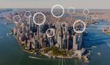Fototapeta Nowy Jork - Technology digital circle with aerial view of Manhattan, NY skyline