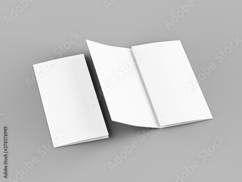 Obraz Open trifold brochure in A4 format mockup.3d illustartion - fototapety do salonu