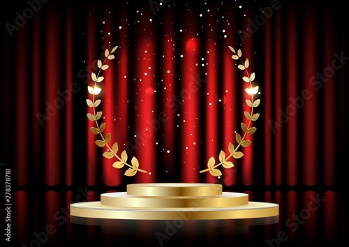 Obraz na plátně Golden laurel wreath over red round podium with steps in front of the curtains