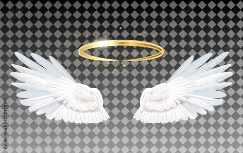 Angel wings icon with nimbus Canvas Print