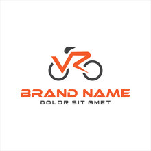 Bicycle Logo Design Vector Stock .Abstract Letter V R Cycle Bike Sport Logo Vector Design Icon Cycle