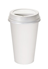 Blank Takeaway Paper Coffee Cup Medium Size Mock Up Isolated On White Background Including Clipping Path.