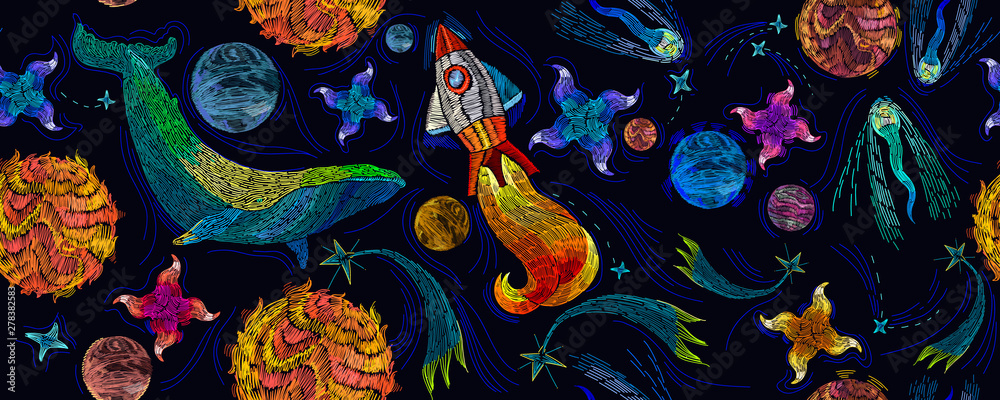 Fototapeta Embroidery universe, spaceship and blue whale seamless pattern. Rocket, planet, solar system, galaxy. Fantasy template for clothes, textiles, t-shirt design