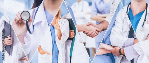 Fototapeta Healthcare people group. Professional doctor working in hospital office or clinic with other doctors, nurse and surgeon. Medical technology research institute and doctor staff service concept. obraz