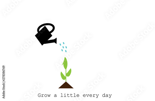 watering can watering plant with inspirational quote : Grow a little every day Tablou Canvas
