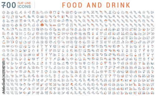 Set Vector Line Icons of Food and Drink