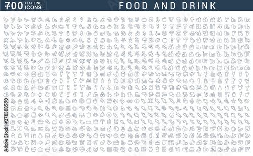 Obraz na płótnie Set Vector Line Icons of Food and Drink