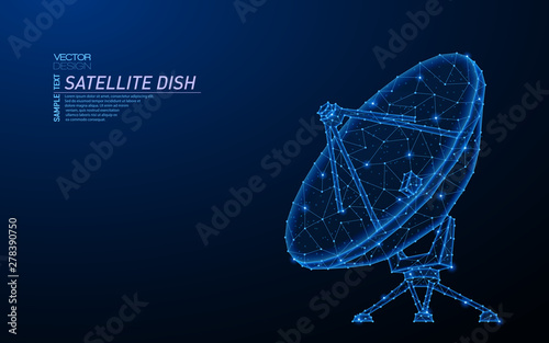 Abstract polygonal light design of satellite dish. Canvas Print