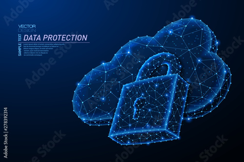 Abstract polygonal light design of cloud storage with lock sign.