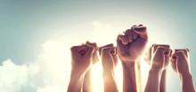 Peoples Raised Fist Air Fighti...