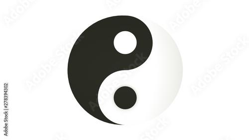Sign yin yang. 3d illustration. Isolated on white background. Slika na platnu
