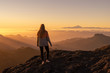 canvas print picture - Happy woman standing and enjoying life at sunset in mountains - gran canaria, spain