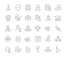 Set Vector Line Icons Of Memorial Day