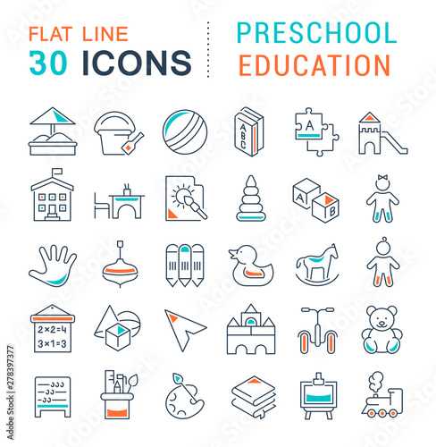 Set Vector Line Icons of Preschool Education