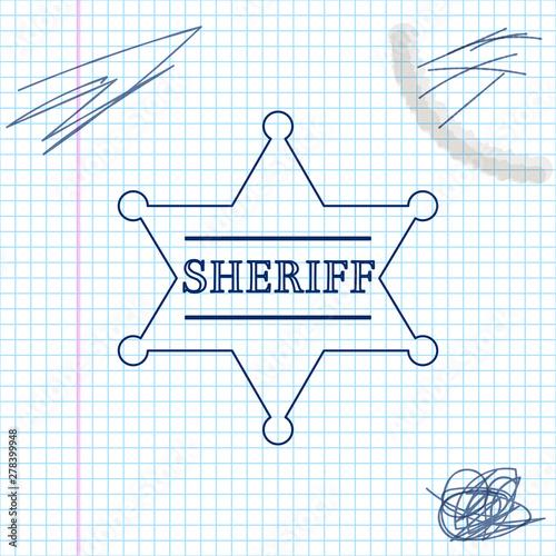 Obraz na plátne Hexagonal sheriff star line sketch icon isolated on white background