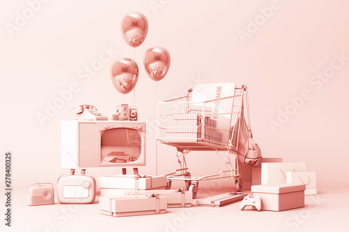 Poster Pierre, Sable Supermarket shopping cart surrounding by giftbox with credit card and many gadget on pink background. 3d rendering
