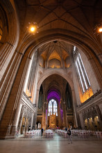 Liverpool Anglican Cathedral Interior View.