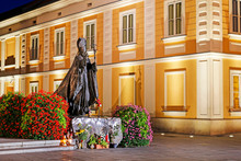 WADOWICE ,POLAND - APRIL 27, 2015: Monument Of Pope John Paul II In His Home Town City