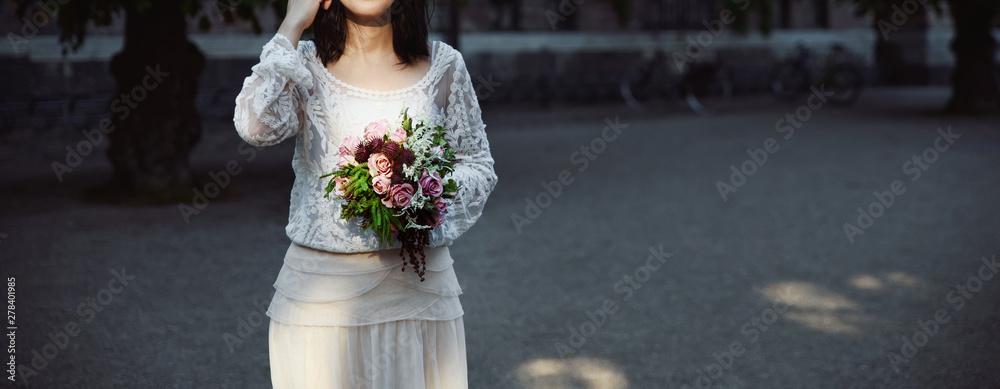 Fototapety, obrazy: Beautiful bride in a wedding dress