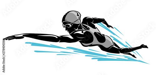 Cuadros en Lienzo Female Swim Front Crawl