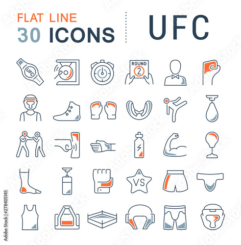 Set Vector Line Icons of UFC Wallpaper Mural