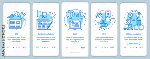 Photo Digital marketing tactics blue onboarding mobile app page screen vector template