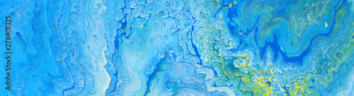 Fototapety, obrazy: photography of abstract marbleized effect background. Blue and white creative colors. Beautiful paint. banner