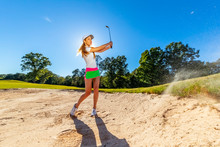 Lovely Blonde Female Golfter E...