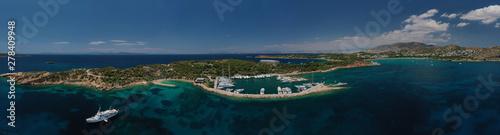 Garden Poster Napels Aerial drone photo of rocky peninsula in Astir area or Asteras, Vouliagmenis, Attica, Greece