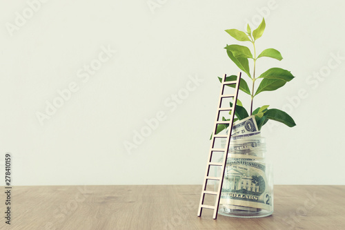 Obraz na plátně Business image of savings jar and ladder, money investment and financial growth