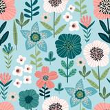 Fototapeta Kwiaty - Floral seamless pattern. Vector design for paper, cover, fabric, interior decor