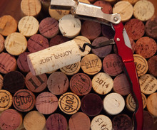 Wine Corks And Corkscrew, Corks With Different Dates And Stains, Close-up