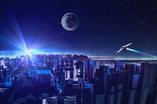 Abstract Fractal Colorful Blue City With Star, Planet And Spaceship. Modern Future City Concept. Elements Furnished By NASA. 3D Rendering