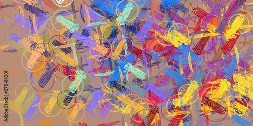 Fotobehang Paradijsvogel Handmade surreal abstract pattern. Modern artistic canvas. 2d illustration. Texture backdrop painting.