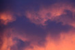 Evening sky with clouds backlit by the sun. Koncept - dramatic mood. Anxious background.