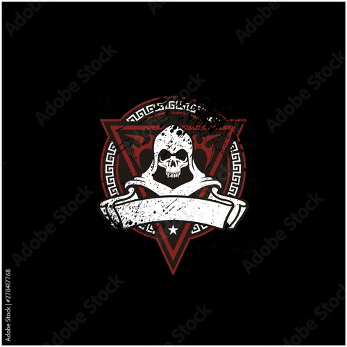 Valokuva  Rustic Skull Emblem for Game or Motor Club logo design